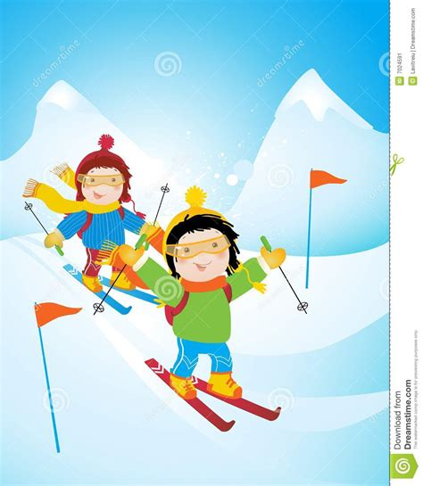 Cross Country Ski Styles - kids skiing stock image image 7024591