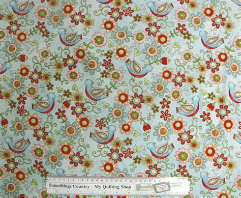 Patchwork Quilt Fabric - patchwork quilting sewing fabric birdie floral