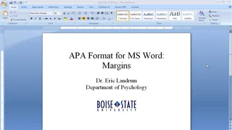 Apa Format For Microsoft Word Margins Youtube Microsoft Word Apa Template
