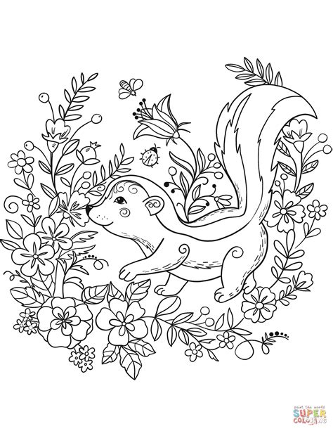 Skunk Coloring Pages Printable by Skunk Coloring Page Free Printable Coloring Pages