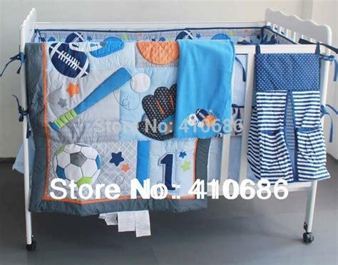 sports themed crib bedding blue base ball sports boy baby crib bedding set
