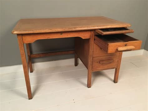 Desk With Many Drawers by Vintage Abbess Oak Desk With Drawers Blue Ticking