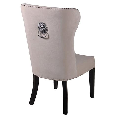cream dining room chairs cream dining chair with silver lion knocker mulberry moon