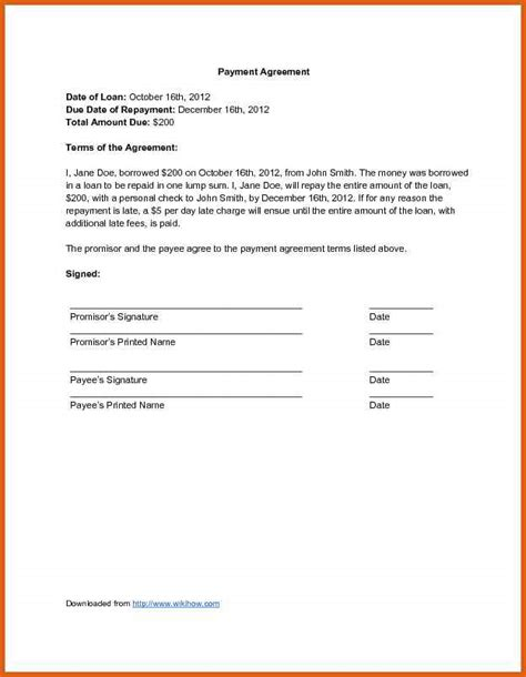 loan repayment form template payment agreement template apa exles
