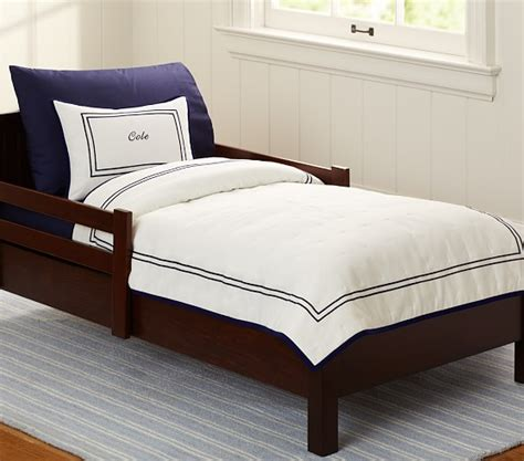 double toddler bed double row pique toddler bedding pottery barn kids