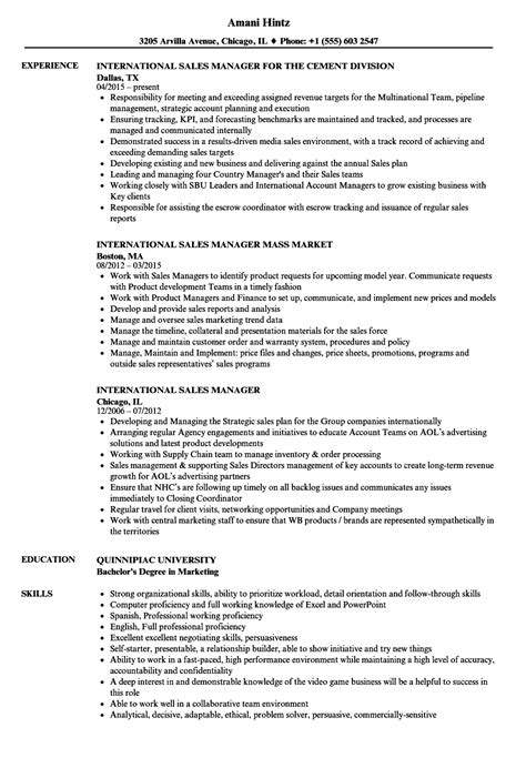 sle of international resume international sales manager resume sles velvet