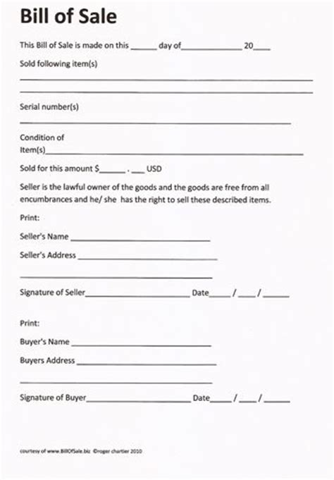 printable sle rv bill of sale form form laywers