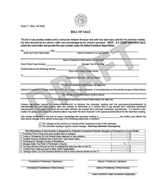 Free Georgia Bill Of Sale Form Pdf Template Legaltemplates Free Bill Of Sale Template Ga