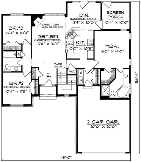 Narrow Ranch House Plans by Traditional Ranch With Careful Use Of Space 8950ah 1st