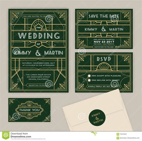 savings card template emerald green deco wedding invitation template stock