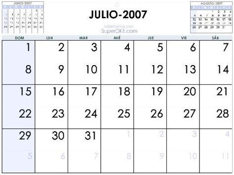 Calendario Julio 2007 Calendario Julio 2007 Imagui