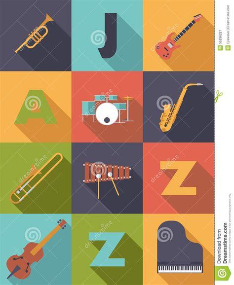 flat design poster vector jazz music poster flat design vector illustration stock