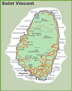 map st vincent and the grenadines road map of vincent island