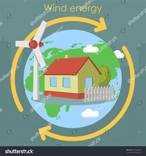 house planet wind energy house planet stock vector illustration