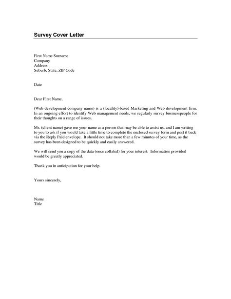 Cover Letter Survey by Sle Survey Cover Letter The Best Letter Sle