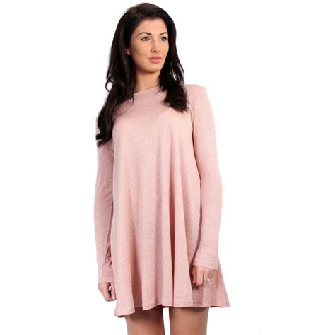 long swing dresses pink glitter long sleeved swing dress from parisia