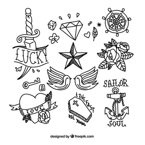 new school tattoo vector tattoo doodle collection vector premium download