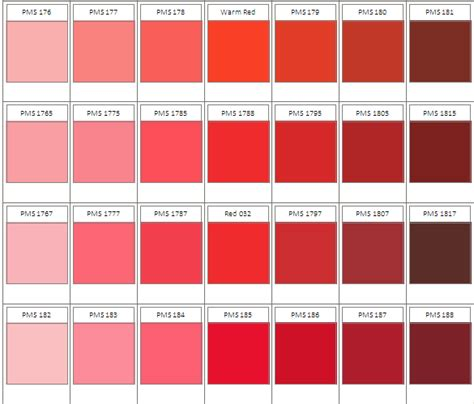 shades of red color chart pantone red color chart www pixshark com images