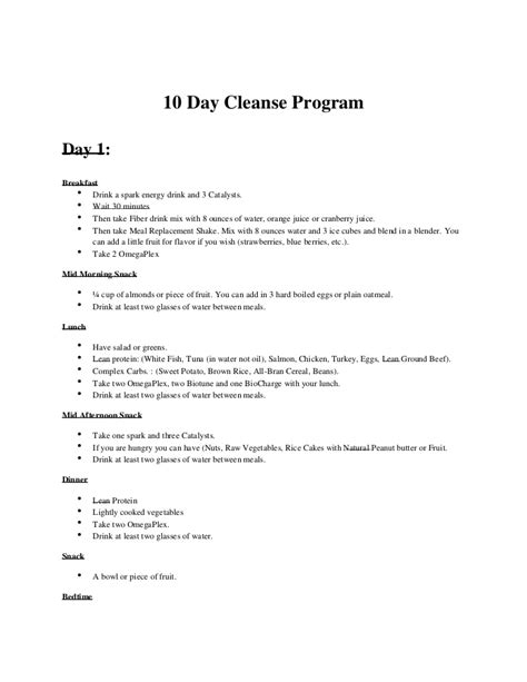 10 Day Detox Pdf by Advocare 10 Day Cleanse