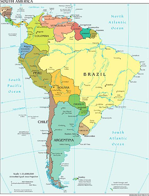 political and physical map of south america the world factbook