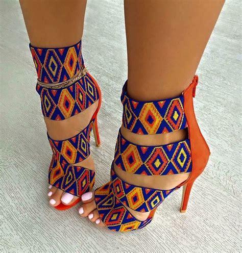 print pattern heels shoes pattern orange blue multicolor heels high