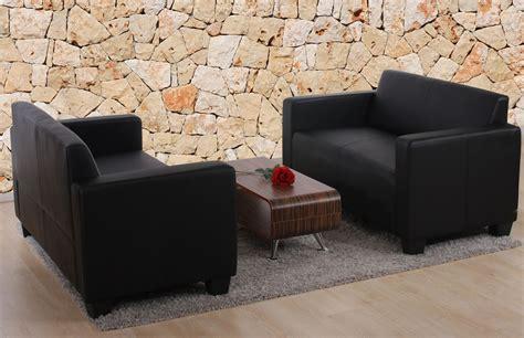 sofa kunstleder schwarz sofa garnitur garnitur 2x 2er sofa moncalieri