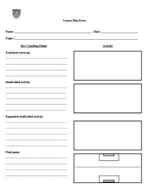 soccer lesson plan template fill online printable