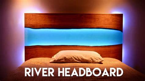 edge epoxy river headboard  table  led lights