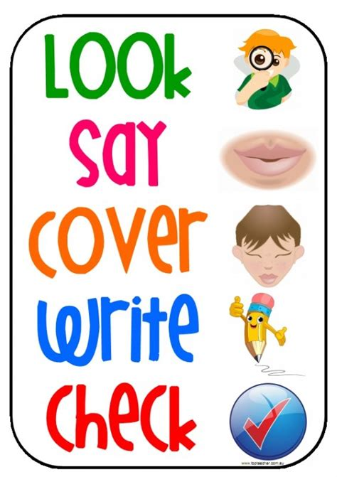 look say cover write check poster top innovative and creative early childhood