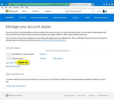 yahoo email alias add or remove microsoft account aliases windows 10 tutorials