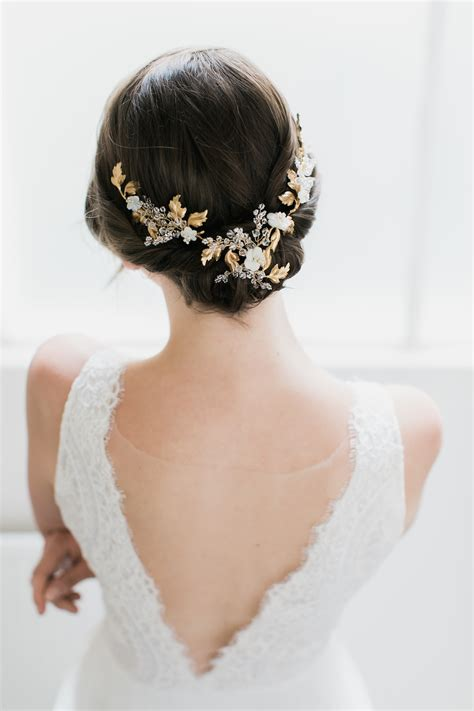 Wedding Hair With Headpiece by Amourette Gold Leaf Wedding Headpiece Tania Maras