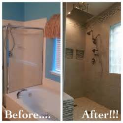 Convert Bathtub Into Walk In Shower Bathroom Remodel Removed Garden Tub To Make Room For A
