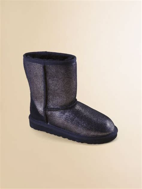 ugg classic glitter boots in black lyst