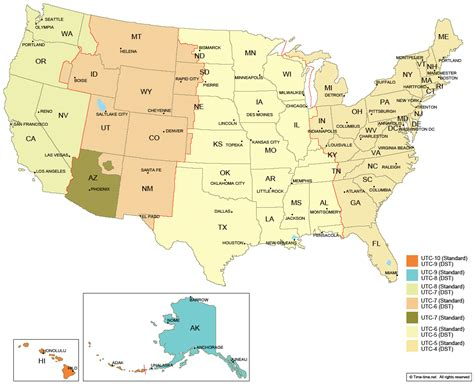 times zones in usa with the map us map of states with time zone www proteckmachinery
