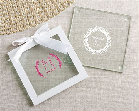 Wedding Favors Coasters by Personalized Glass Coasters Rustic Charm Wedding Set Of