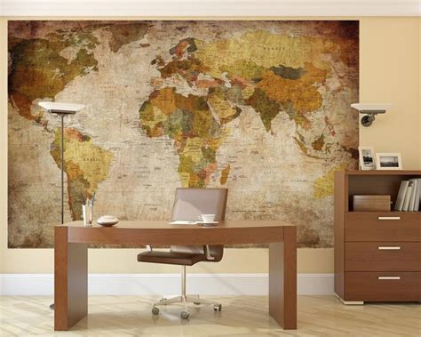 retro wall mural vintage world map wall mural