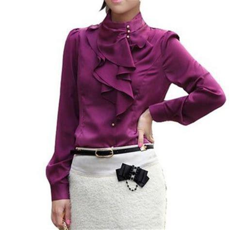 21485 Solid V M L Sale Blouse khaki white ruffled blouses brand fashion sleeve button shirts sale plus size