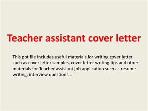 cover letter sles for teaching assistant cover letter