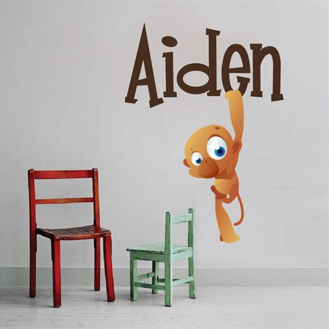 Wall Mural Decals For Kids kids monkey name wall decal nursery wall decal murals