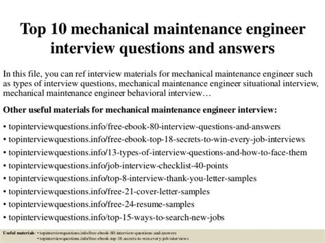 top 10 mechanical maintenance engineer questions