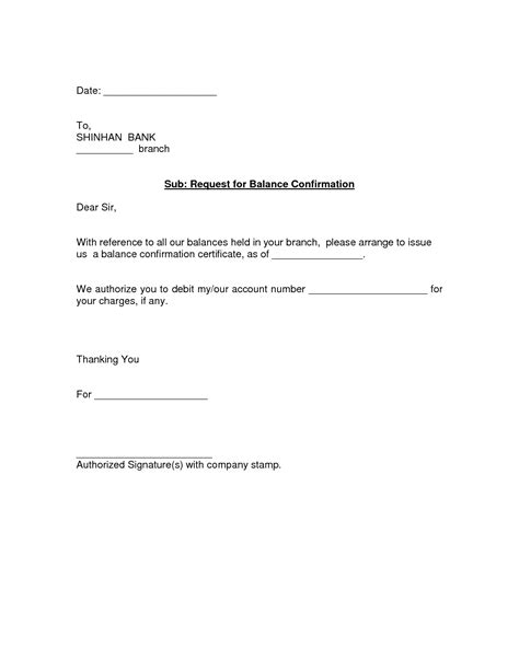 Sle Credit Balance Confirmation Letter request letter for bank confirmation balance 28 images