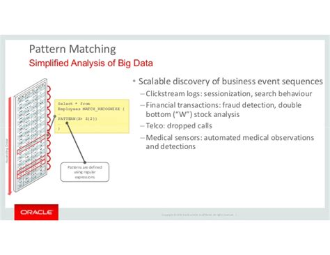 pattern matching oracle oracle 12c application development