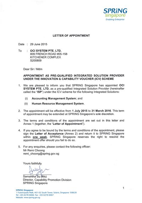 appointment letter sle in singapore resume for audit manager position resume for information