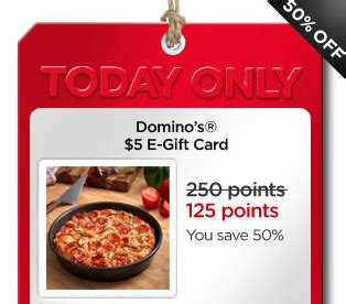 Walmart Domino S E Gift Card - my coke rewards 5 domino s e gift card only 125 points 50 off hip2save