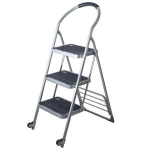 stalwart 175 lbs step ladder dolly folding cart in silver