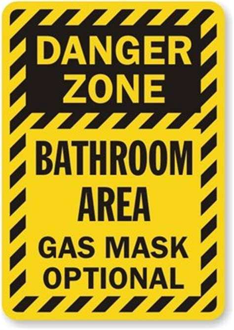 Bedroom Door Signs danger zone bathroom area gas mask optional plastic sign