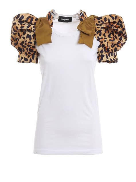 Print Sleeved T Shirt by Leopard Print Puff Sleeved T Shirt By Dsquared2 T Shirts