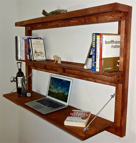 Wall Mounted Desk Shelf by Rustic Wall Mounted Fold Out Desk With Shelves Bookcase