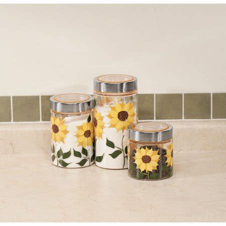sunflower kitchen canisters sunflower canisters set of 3 walmart com