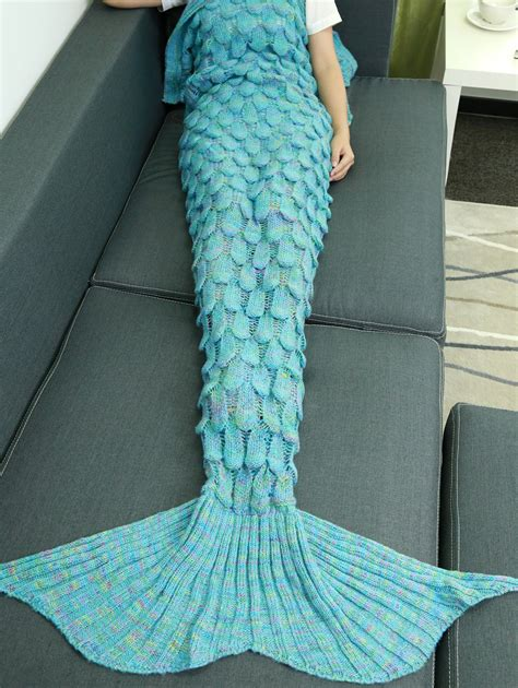 Knitted Mermaid Blanket soft hollow out design knitted mermaid blanket